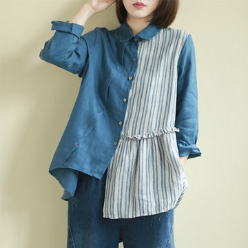 Ruffle Stripe Stitching Irregular Hem Shirt