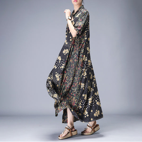 Rural Floral Printed Elegant Casual Coat