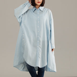 Blue Stripe Large Size Long Women Shirt