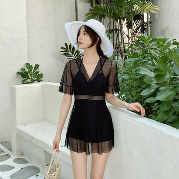 Semi-sheer Solid Color Deep V-neck One Piece Swimsuit