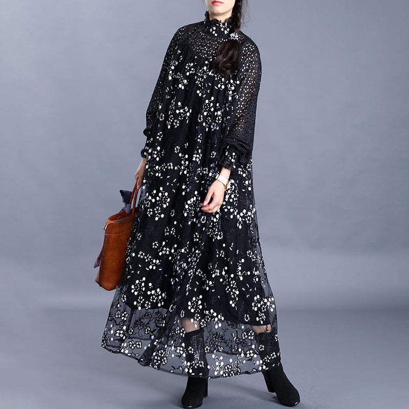 Sequin Floral Embroidery Hollow Out Dress