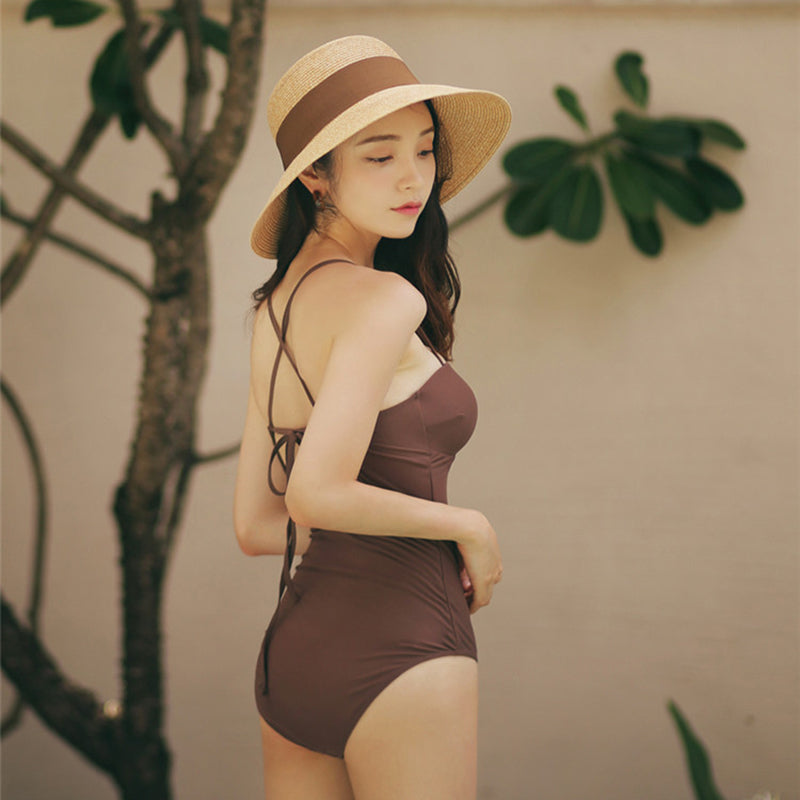 Sexy Backless Strap Vacation One-piece Swimwear