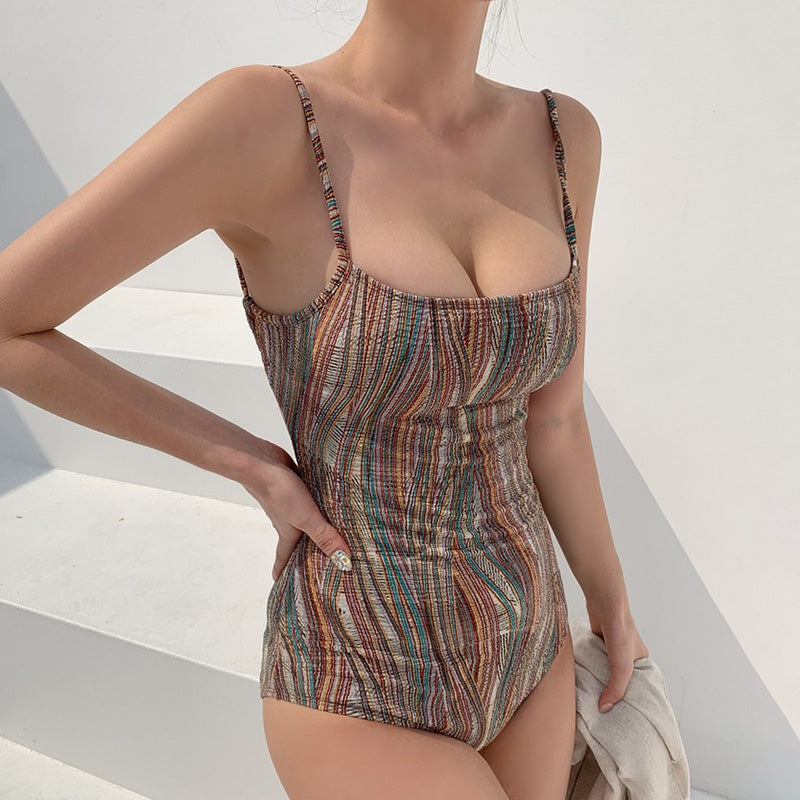 Sexy One-piece Striped Swimsuit with Headpiece