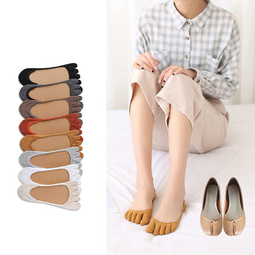 Shallow Mouth Japanese Pure Color Toe Socks - 3 Pairs