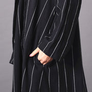 Shawl Collar British Style Stripe Long Coat