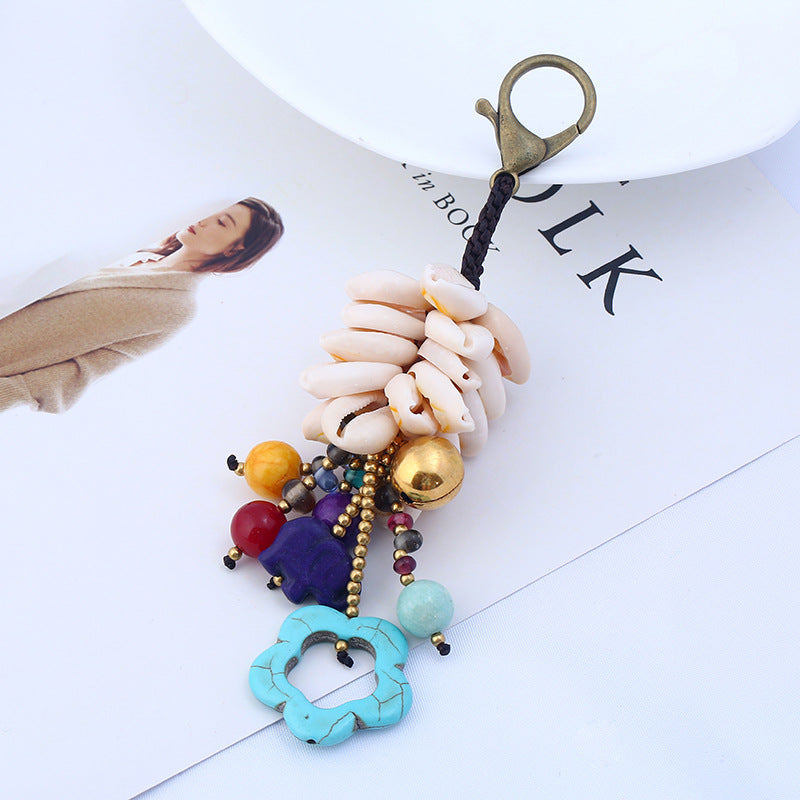 Shell Bell Flower Beads Keychain Bag Pendant