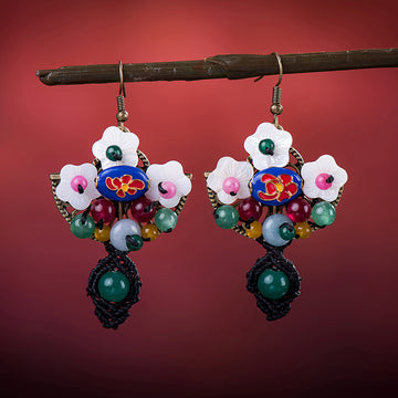 Shell Agate Flower Earrings