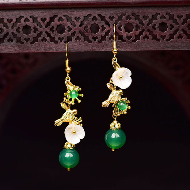 Shell Flower Green Agate Beautiful Earrings