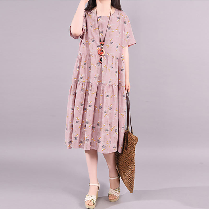 Short Sleeve Floral Printed Splicing Summer Midi Dress