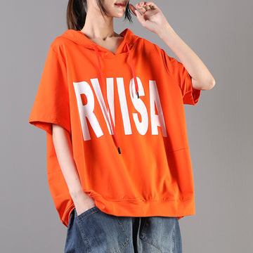 Short Sleeve Letter Printed Loose Cotton Hooded T-shirt