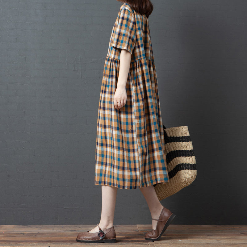 Short Sleeve Plaid Turn-down Collar Cotton Dress