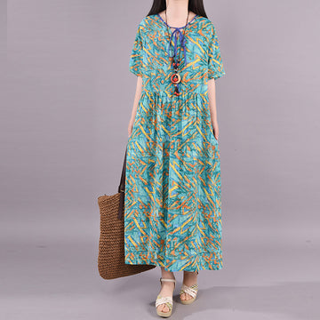 Short Sleeve Printed Lacing Cotton Linen Dress