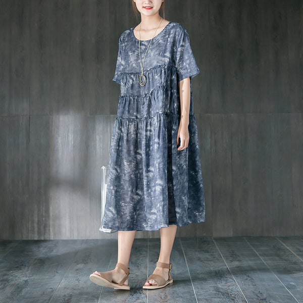 Short Sleeve Cotton Blue Casual Pleated Dress