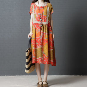 Short Sleeve Cotton Loose Orange Summer Dress