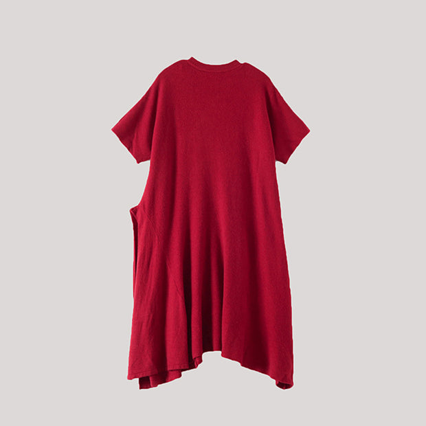Short Sleeve Pure Color Knit Dress