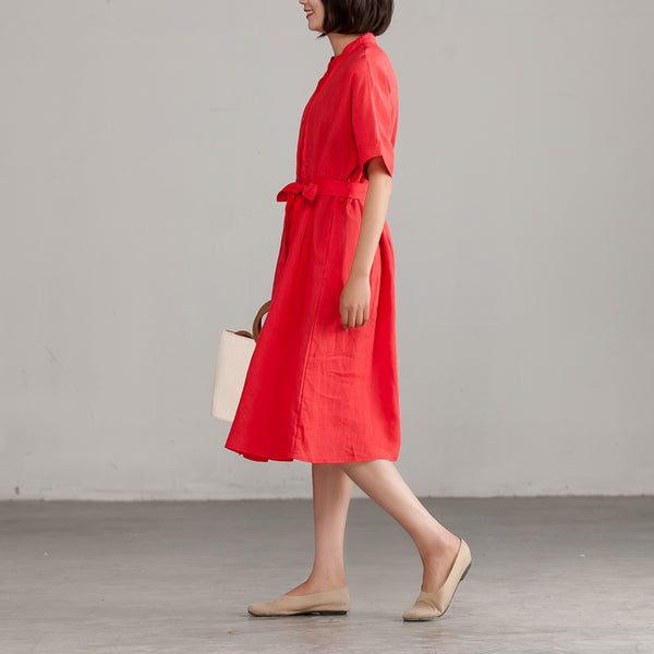 Short Sleeve Red Lacing Commuter Plus Size Dress