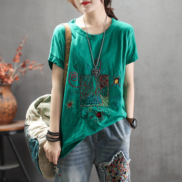 Short Sleeve T-Shirt Fashion Embroidery Casual