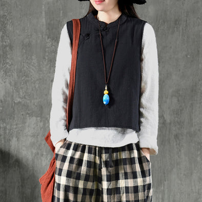 Short Type Sleeveless Solid Ethnic Coat