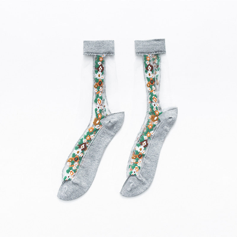 Side Embroidered Floral Tulle Socks - 3 Pairs