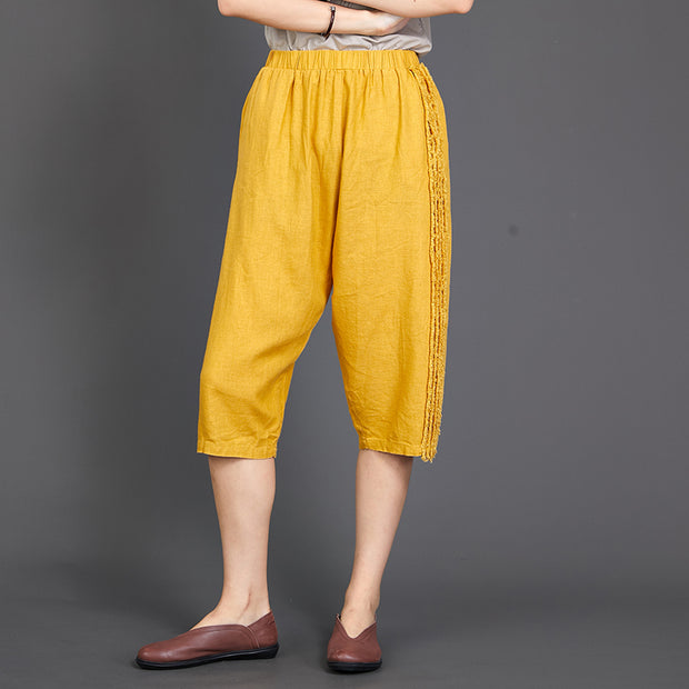 Side Burr Design Solid Color Casual Pants