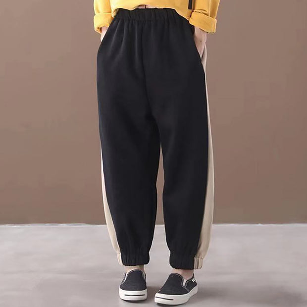 Side Stripe Loose Comfortable Warm Pants