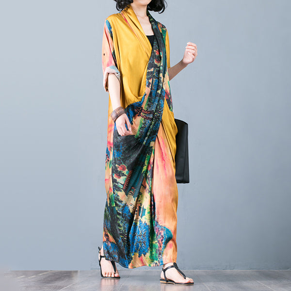 Silk Fashion Casual Printed Maxi Dress