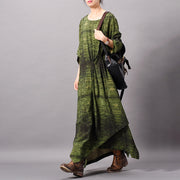 Silk Printing Irregular Pleated Dress