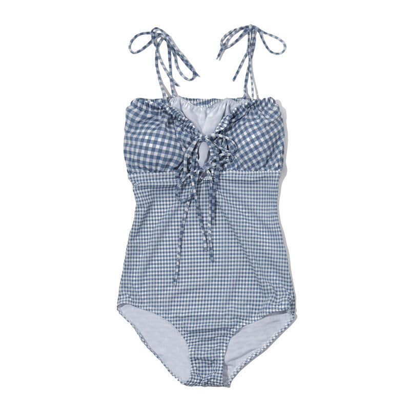 Simple Plaid Lacing One Piece Swimsuit