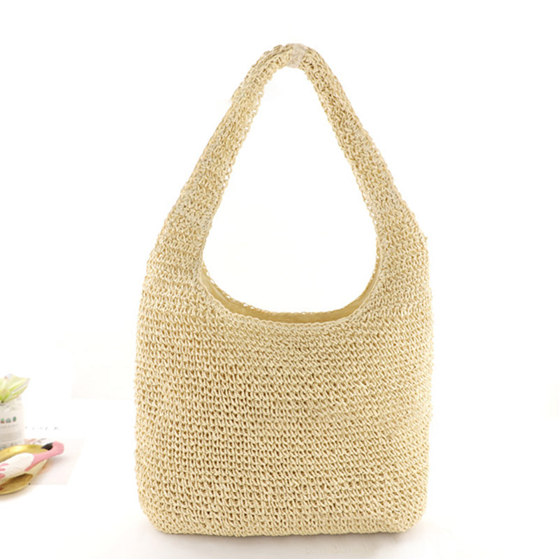 Simple Pure Color Straw Woven Beach Bag