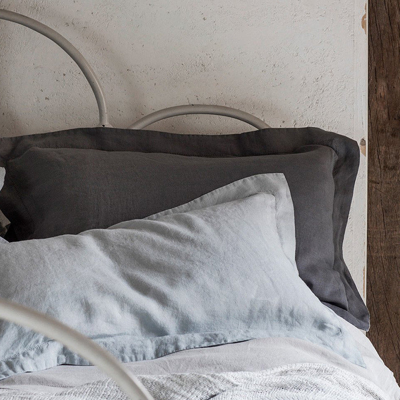 Simple Solid Color Linen Bed Pillowcase