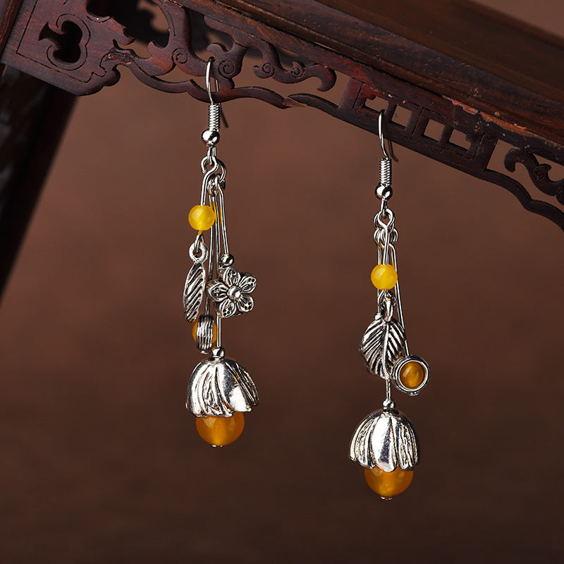 Simple Beautiful Alloy Yellow Agate Earrings