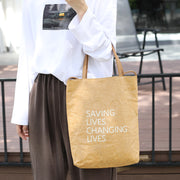 Simple Brown Paper Casual Pleated Tote Bag