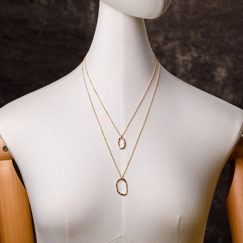 Simple Circular Ring Two Layers Chain Necklace