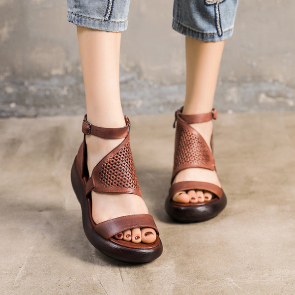 Simple Fashion Handmade Leather Thick-Sole Sandals