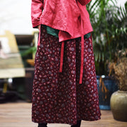 Simple Floral Retro Casual Red Skirt