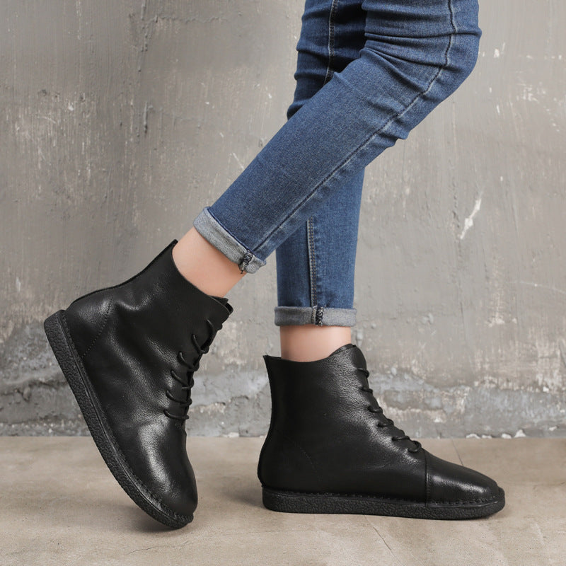 Simple Lace Up Round Toe Boots