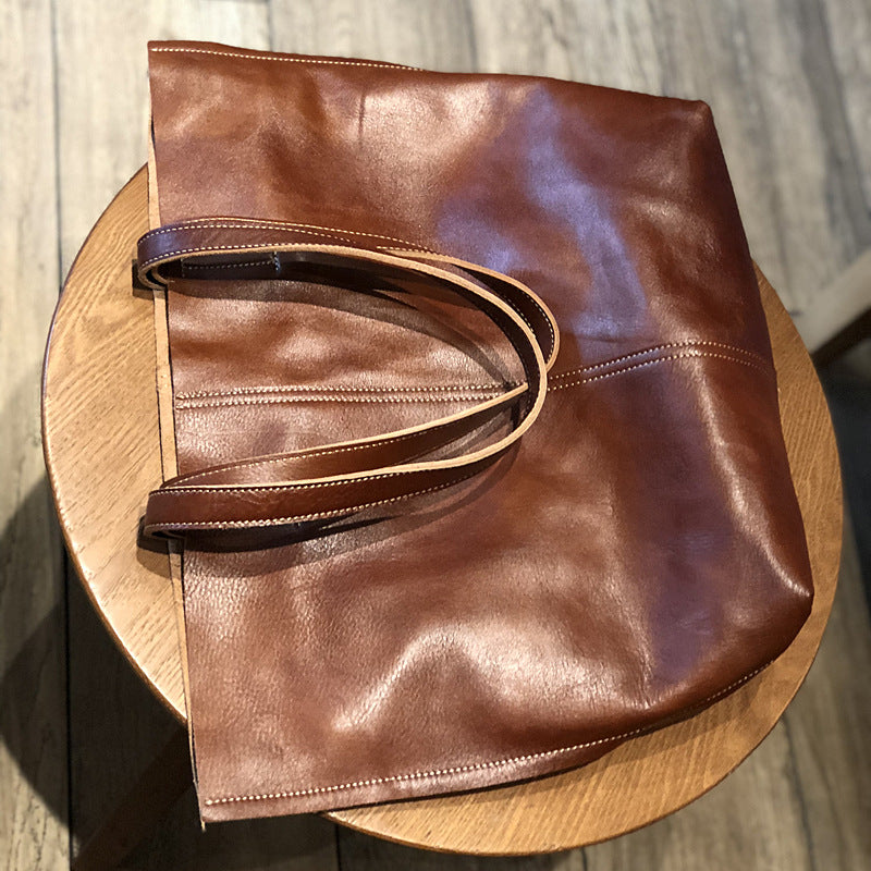 Simple Large Capacity Sewing Leather Tote Bag