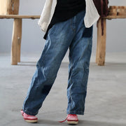 Simple Loose Casual Frayed Straight Jeans