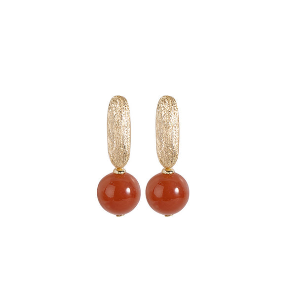 Simple Personality Round South Red Agate Earrings