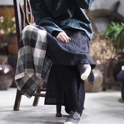 Simple Plaid Stitching Cloth Casual Skirt