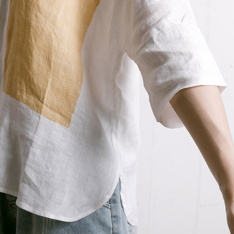 Simple Printed Comfortable Casual Linen Shirt