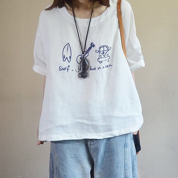 Simple Printed Pullover Loose Cotton T-Shirt