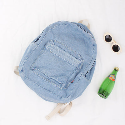 Simple Pure Color High Capacity Backpack