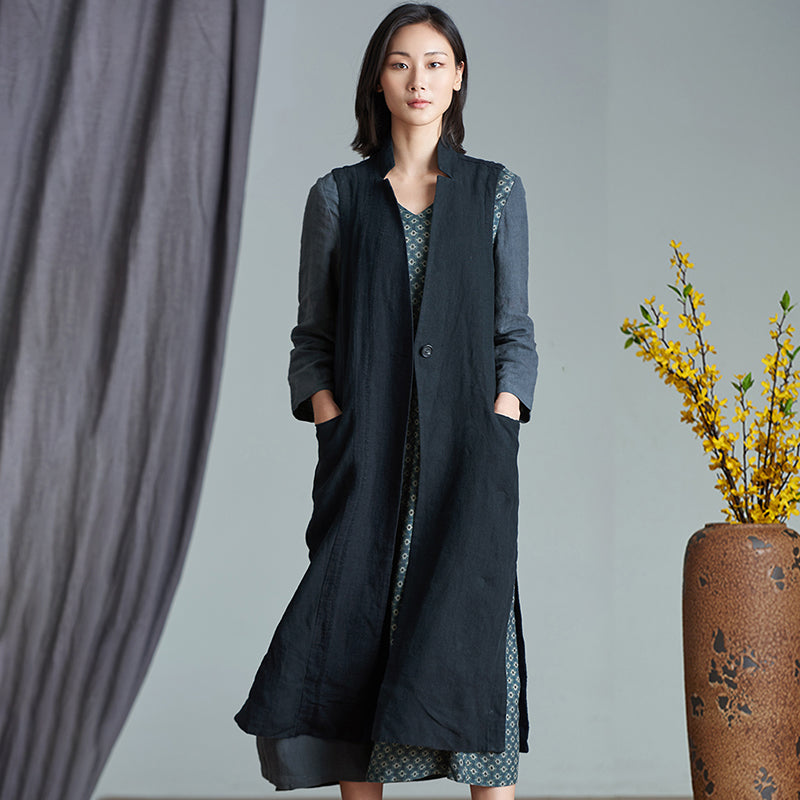 Plus Size - Simple Pure Color Loose Long Waistcoat