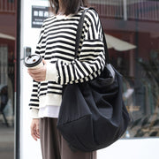 Simple Solid Color Canvas Shoulder Bag