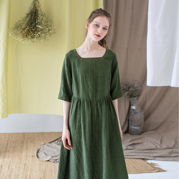 Simple Solid Color Square Collar Loose Dress