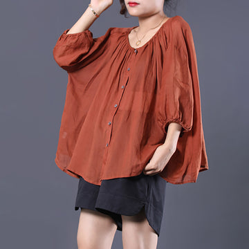 Single Breasted Casual Batwing Sleeve Blouse