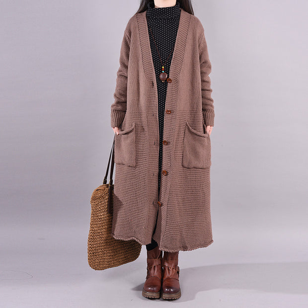 Single Breasted Casual Solid Color Knit Coat