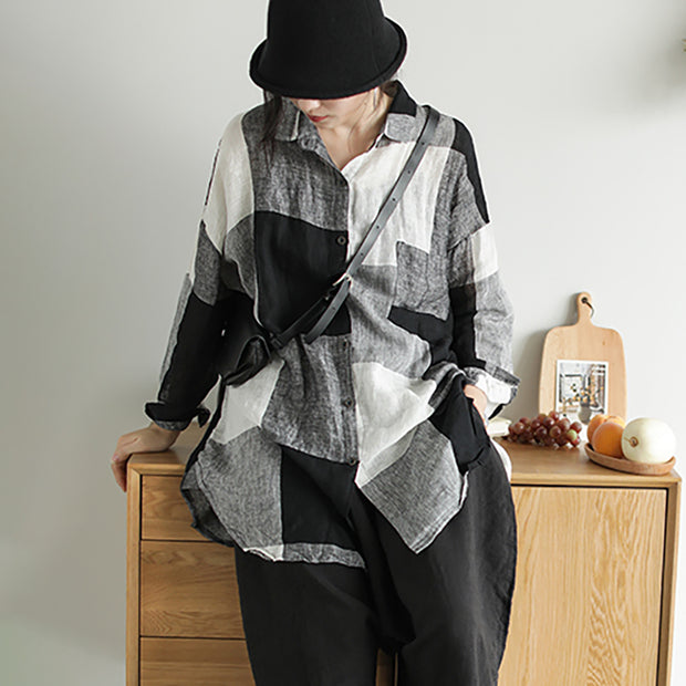 Single Breasted Plaid Comfortable Loose Shirt