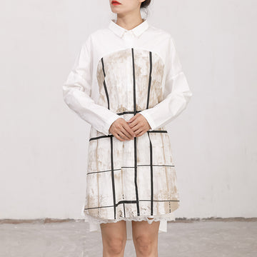 Single Breasted Printed Split Women Shirt Dress